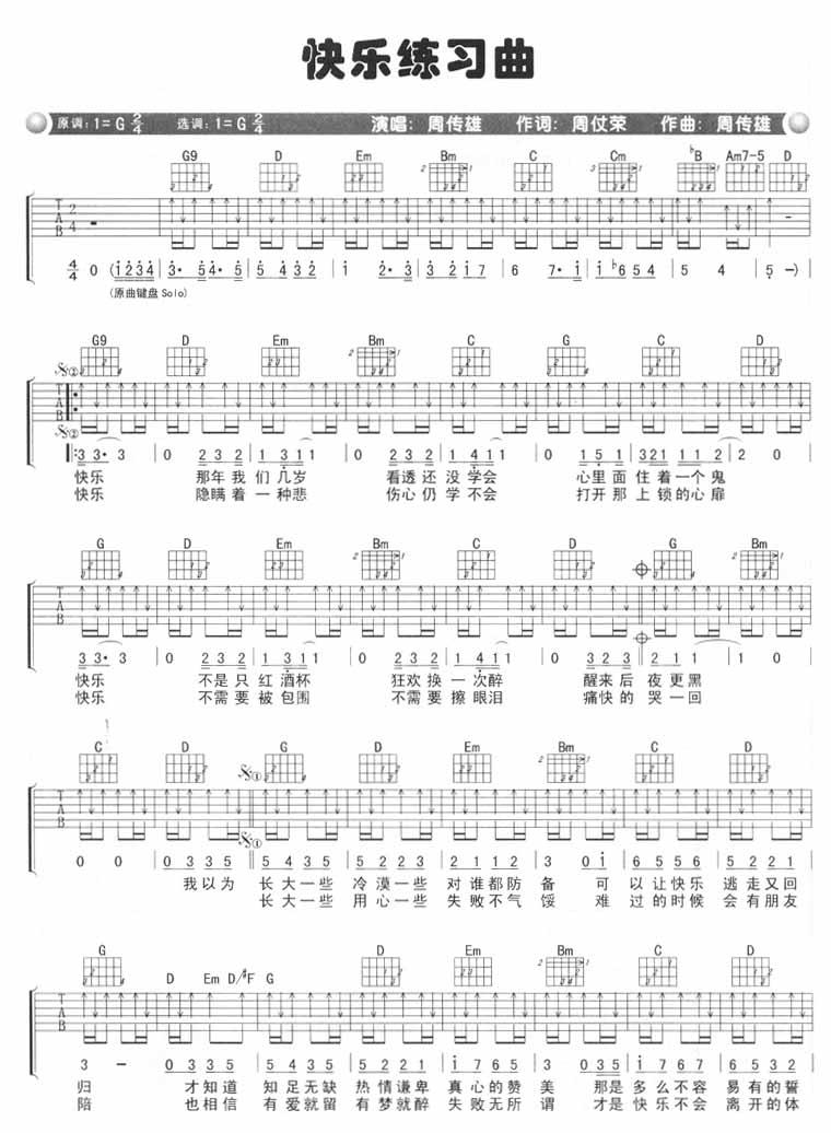 快乐练习曲 吉他谱 - 第1张