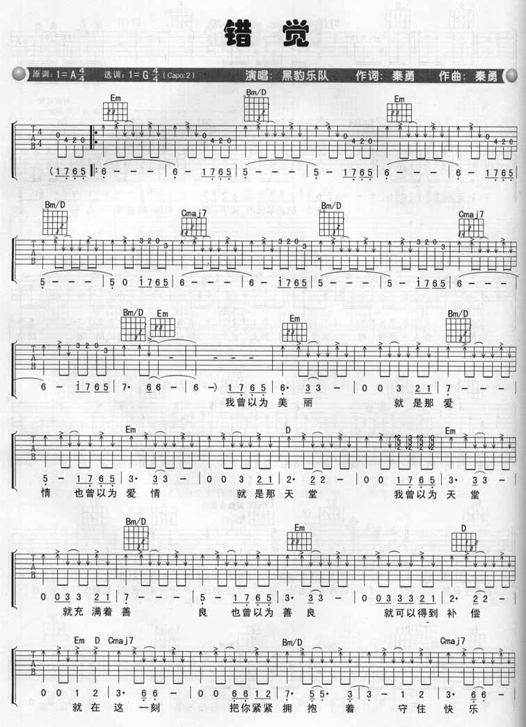 错觉 黑豹乐队 - 吉他谱 - 嗨吉他