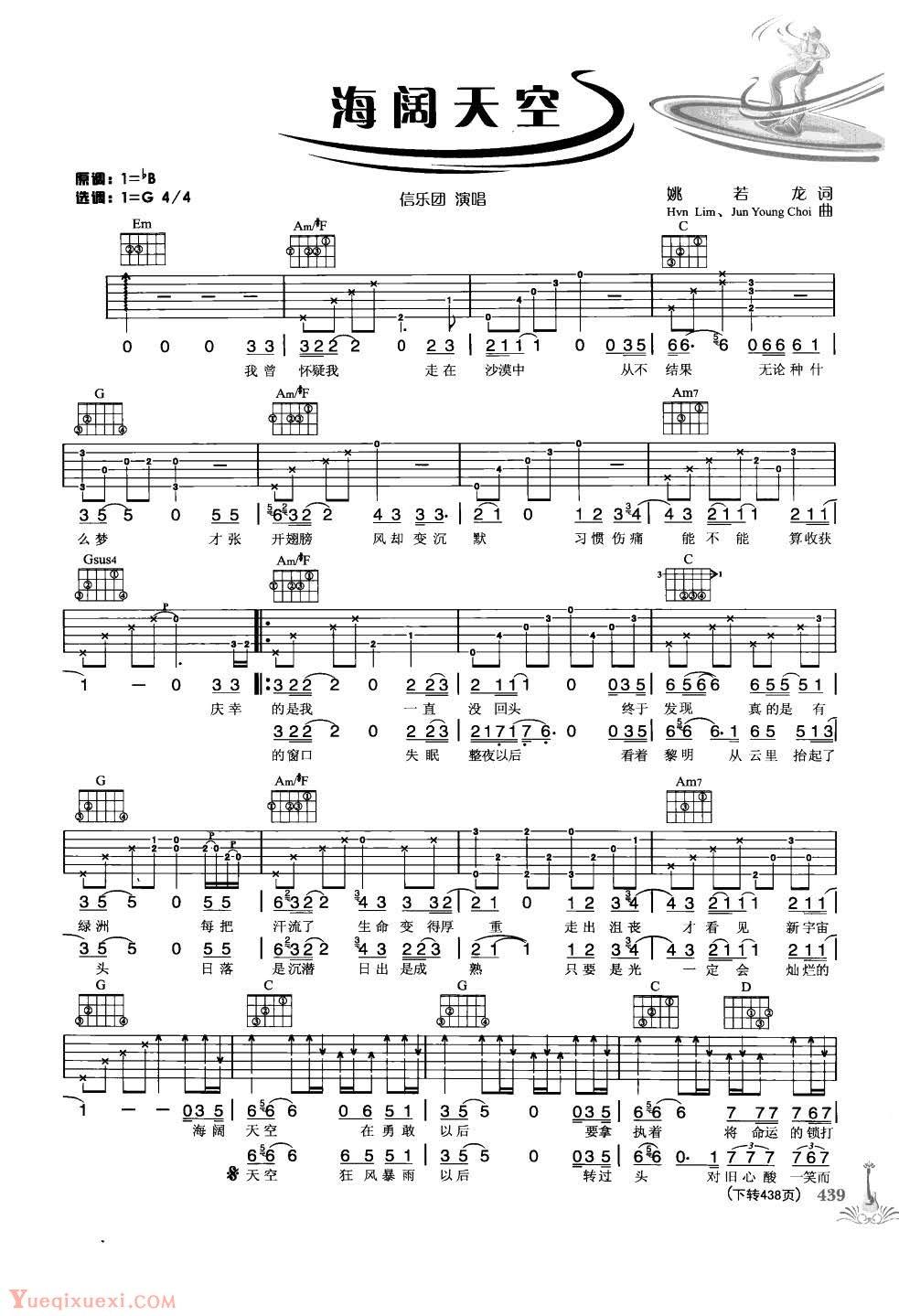 海阔天空 吉他谱 - 第1张