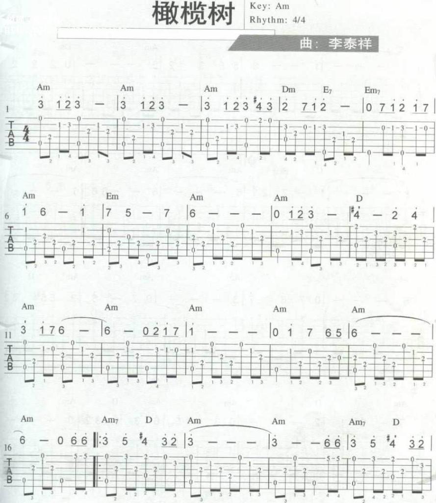 橄榄树(独奏) - 吉他谱
